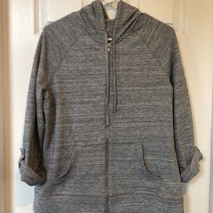 New York & Co Gray Zippered Hoodie - Med